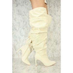 Off-white Ruched Thigh High Boots